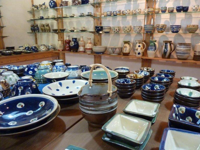 A shop at Yomitan Pottery Village