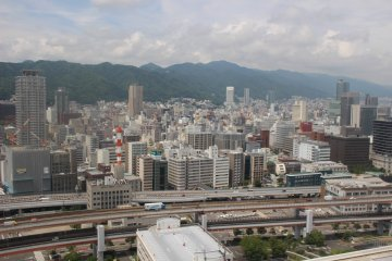 A view of Kobe and surrounding mountains
