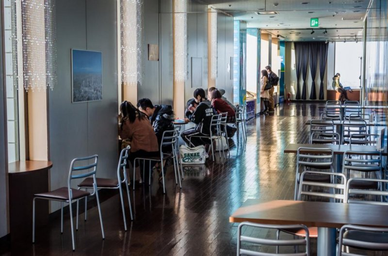 Eating space includes tables connected to windows