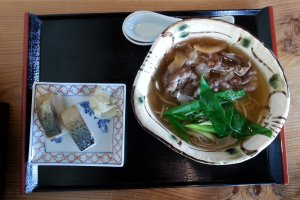 Soba with omi beef and saba sushi