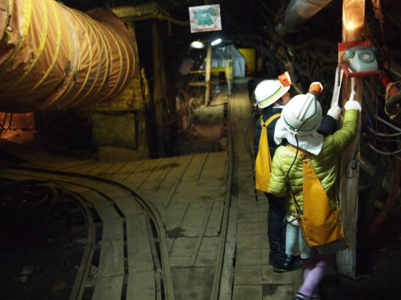 Children are given an opportunity to operate mining equipment (it's perfectly safe!)