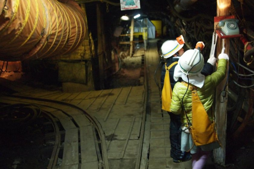 Children are given an opportunity to operate mining equipment (it\'s perfectly safe!)