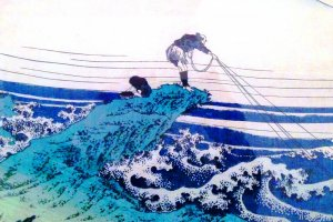 Hokusai's trademark - man against the elements