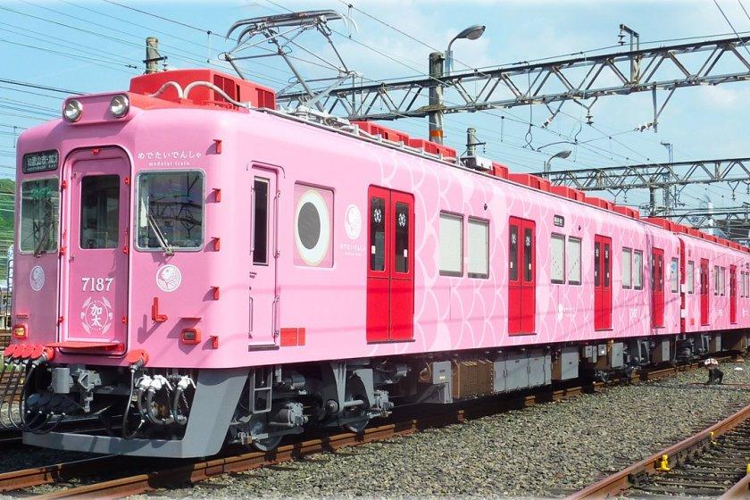 รถไฟเมะเดะไท (Medetai) รถไฟรูปปลาไท (ปลากระพง) สีชมพูหวานแหวว