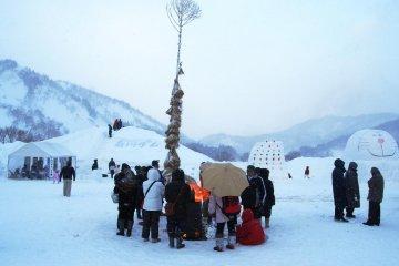 Snow Festival in Nakatsugawa, Iide Town, in February