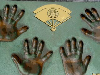 Handprints of Sumo wrestlers who visited the island