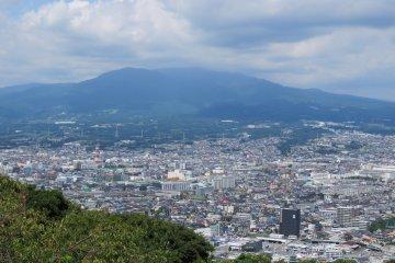 View of Numazu with Mt Fuji in background from Kankiyama Park