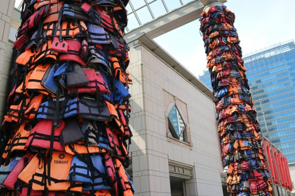 'Safe passage' & 'Reframe', by Ai Weiwei installed at Yokohama Museum of Art