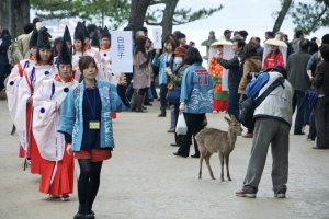 Shirabyoshi court dancers and deer.