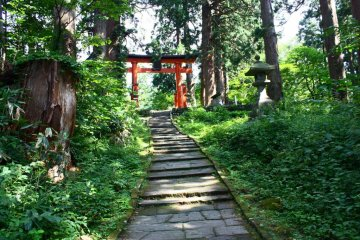 A red torii signals that you're nearly at the top - a welcome relief after all those steps!