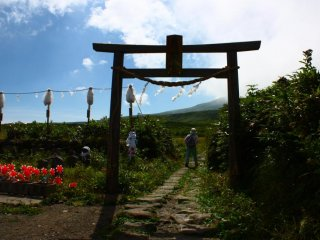 Now across to Gassan, and another torii marks the start of the hiking trail. Gassan represents the death portion of the pilgrimage, but don't let that put you off - there are some beautiful views along the way.