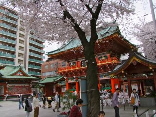 神社の周囲では日本人が普通に日常生活を過ごしている