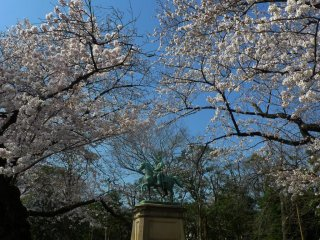 Statue of Prince Komatsu Akihito - a multi awarded Japanese soldier and politician