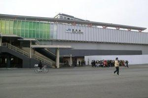 JR Nara station entrance, taxi rank