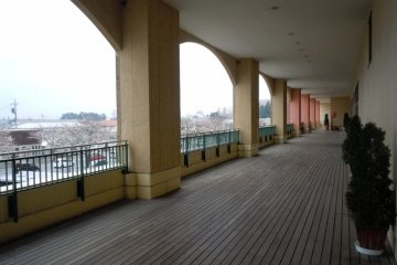 Outdoor wood walkway, 2nd floor, for a breath of fresh air