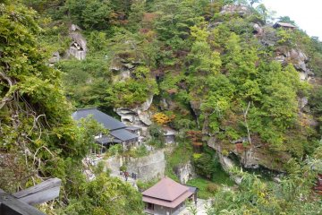 Looking down over the scenic Yamadera temple in mid-autumn