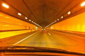 Inside the Tokyo Wan Aqua-Line tunnel
