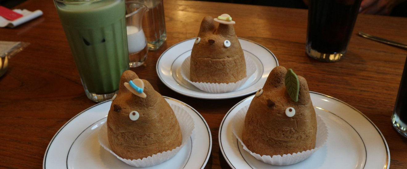 The Totoro Cream Puffs come in three different flavours: chocolate, custard and caramel banana