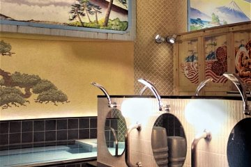 Like the ancients in Rome or Stockholm, the Japanese ideals of nature, such as Mount Fuji, is often represented in a public bath mural, though these days, local festivals are also featured, often as a talking point for neighbours relaxing here.