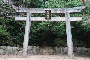 Tại lối vào là một cánh cổng torii khổng lồ