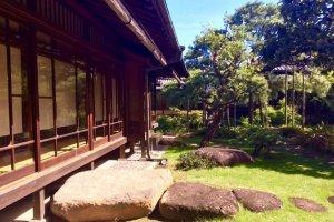The veranda faces the rambling garden