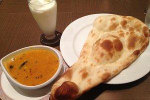 Nan, dal curry, and lassi