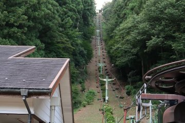 Chair-lift up to the ridge of the mountain