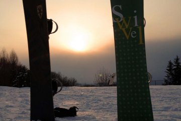 The end of a long day's snowboarding.