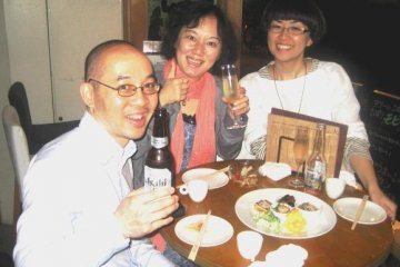 Asahi Beer and great selection of wine at the Volta Bar and Bistro in Osaka