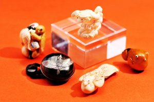 Close up of Netsuke items