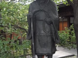 A statue of a Buddhist pilgrim