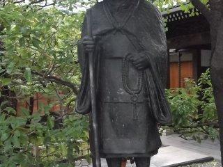 A statue of a Buddhist pilgrim