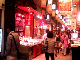 The covered walkway of the Nishiki Markets in the heart of Kyoto just off Teramachi remind me of the wet markets in Hong Kong