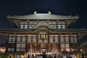 Todaiji temple at night, Tokae event in Nara
