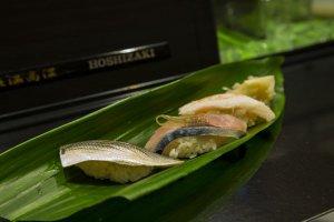 Sushi kohada, ikan makarel kuda, dan Echizen kepiting salju