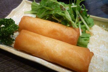 Crunchy spring rolls with melted cheese inside!