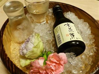 Cold sake on ice
