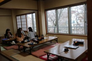 Enjoy sakura views while having lunch