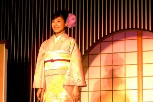 Rinpa inspired Nihonga floral Pastel Design at the Kyoto Fashion Show in Nishijin Textile Center