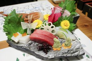 Assorted sashimi selection served on an Arita-yaki ceramic