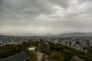 A bird's eye view from the top of Matsuyama Castle