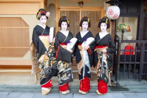Geisha with Kyoto Black Montsuki