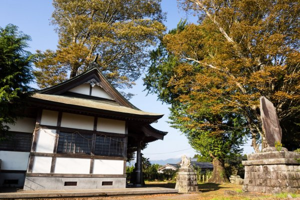 Shimomiya shrine is located on flatlands inside the Aso caldera