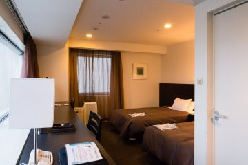 This particular room is large for a Japanese business hotel