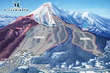 แผนที่ลานสกีของแกรนด์ ฮิระฟุ (Grand Hirafu)  บนภูเขานิเสะโกะ-แอนนุปุริ