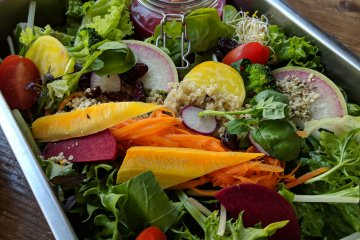 The brightly colored Energy Salad - complete with pink dressing!