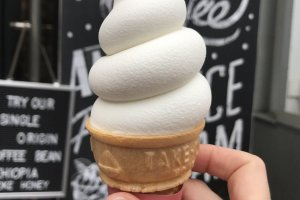 Perfectly swirled vanilla ice cream cones - they taste as good as they look!