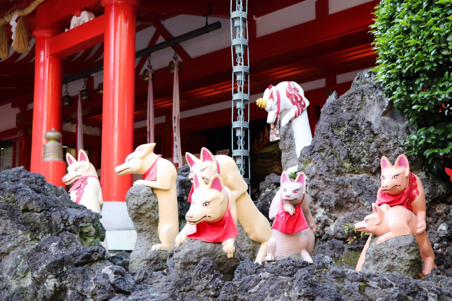 108 foxes inhabit the shrine, each having its own pose