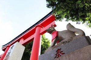 Kitsune (fox) guarding the main entrance