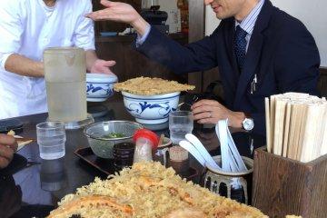 Enjoying handmade tempura udon at Teuchi Udon Taguchi in Kamogata